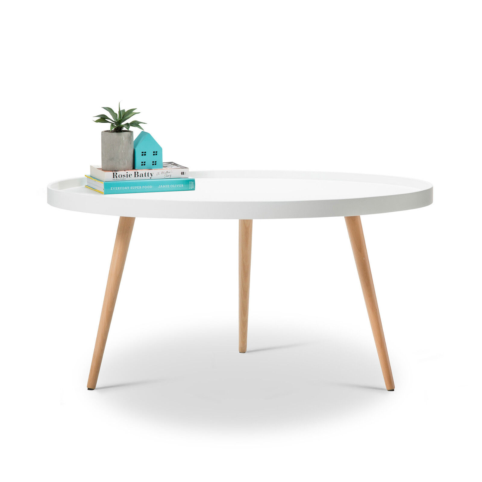 Scandinavian Round Tray Coffee Table WHITE Beech Wood