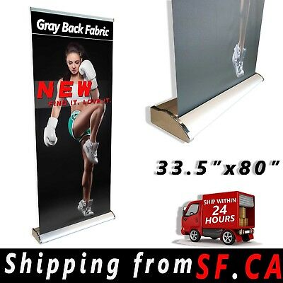 33.5 X 80 Indeluxe Retractable Roll Up Banner Aluminum Stand Trade Show Display