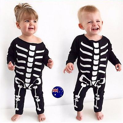 Baby Kid boy girl Halloween Skull Skeleton Party Costume Romper Bodysuit outfit ()
