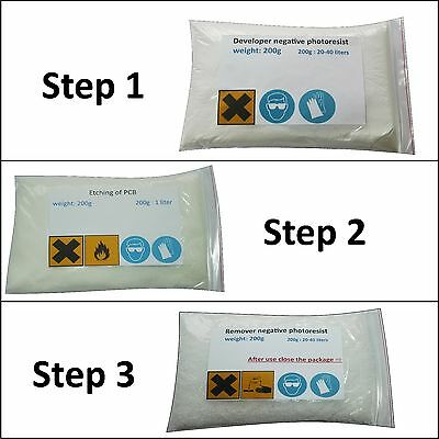 Developer And Remover For Negative Photo Resist Dry Film Etchant For Pcb Fr4.