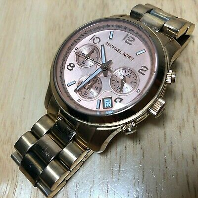 Michael Kors MK-5128 Lady Rose Gold Quartz Chronograph Watch Hours~Date~New Batt