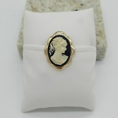 Vintage Goldtone Black Cameo brooch pin or pendant woman lady