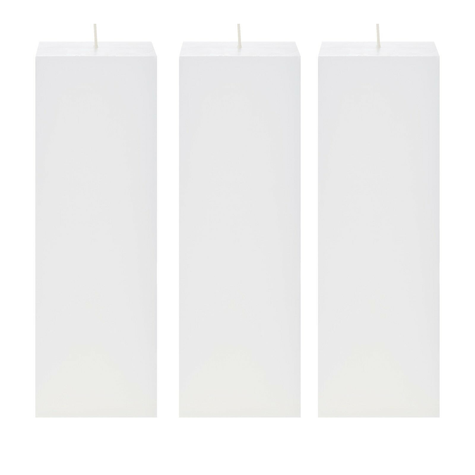 Mega Candles 3 pcs Unscented White Square Pillar Candle | Ha