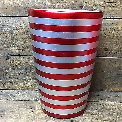 Proflowers Red And Silver Striped Ceramic Vase   Wide Opening