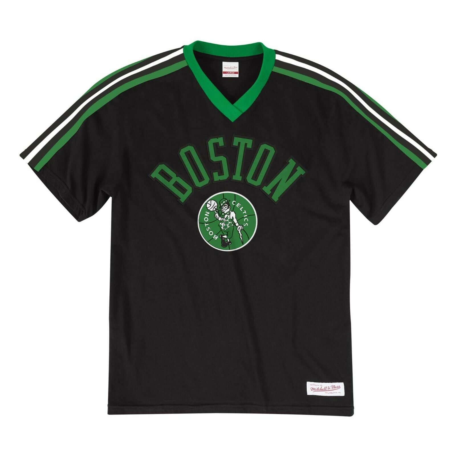 info for 92c89 373c3 New Mitchell   Ness Boston Celtics Black Overtime Win Vneck Tshirt NBA