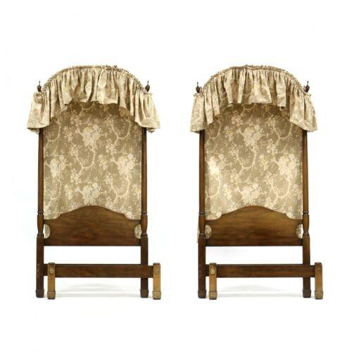 Pair KITTINGER Twin Mahogany Half Canopy Beds W Fabric Williamsburg Style