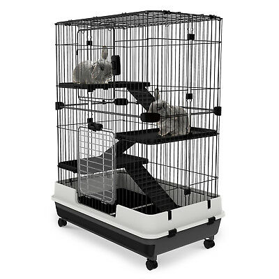 "43""H 4-level Rabbit Cage Indoor Small Animal Hutch Ferret House Habitat Metal"