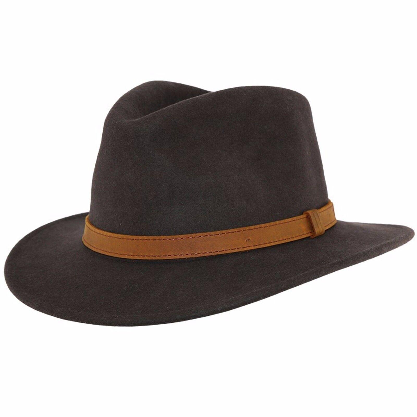 Gents Crushable marrone 100% lana feltro Cappello Trilby Fedora con banda in  pelle tipo. 4fc9f1a811b2