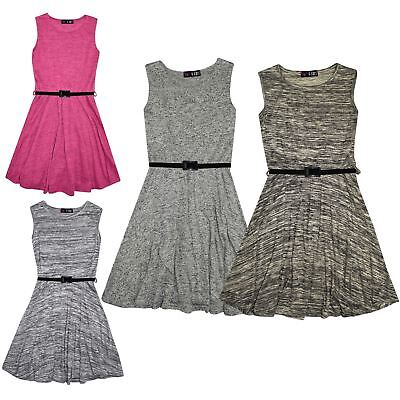Kid Girls Skater Dress Knitted Trendy Fashion Top Party Dresses New Age 7-13 Yr