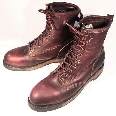 Vintage Iron Age Brown Leather Steel Toe Work Boots Mens Size 11 D Made in USA