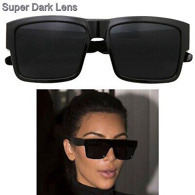 Kardashian Sunglasses Kim Super Dark Lens Black Fashion Top Women Square (Kim Kardashian Black Sunglasses)