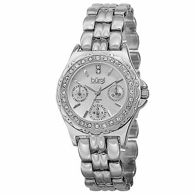 New Women's Burgi BUR117SS Diamond Dial Multifunction Silver-tone Bracelet Watch