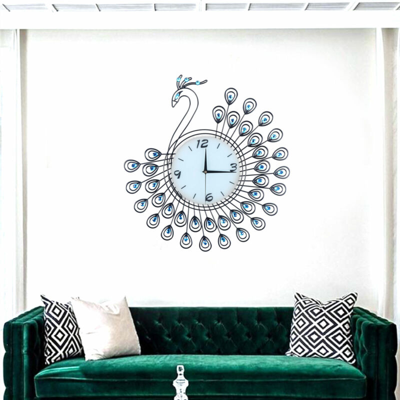 Wall Clock 3D Large Super Mute Wall Clock Home Fashion Decorative Peacock 53*53