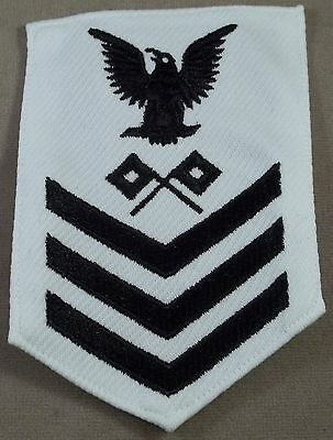 US Navy Petty Officer 1st Class Signalman White Polyester Sleeve Rate
