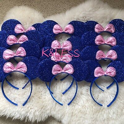 Minnie Mickey Mouse Ear Headband 12pc Shiny BLUE Pink Birthday Party Costume - Minnie Mouse Ears Diy