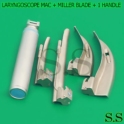 New Premium Grade Laryngoscope Mac Miller Blade 1 Handle Ent Anesthesia Set