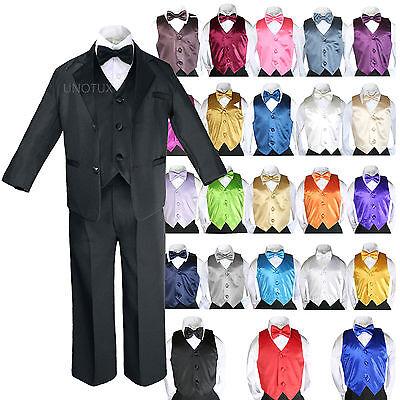 7pc Boy Teen Formal Wedding Black Suit Tuxedo Extra Color...