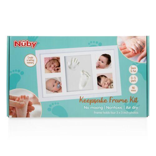 "Nuby Baby Hand & Foot Print Keepsake Frame Kit - Four 3 x 3"" Photos & Clay Print"
