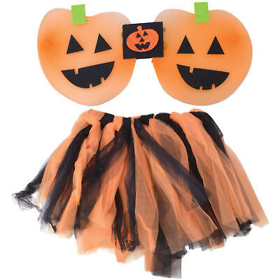 CHILDRENS HALLOWEEN COSTUME OUTFIT PUMPKIN TUTU AND WINGS HALLOWEEN PARTY OUTFIT