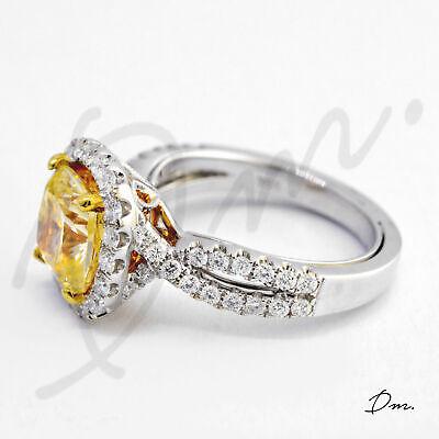 Natural 2.60 TCW Cushion Cut Split Shank Halo Pave Diamond Engagement Ring - GIA 2