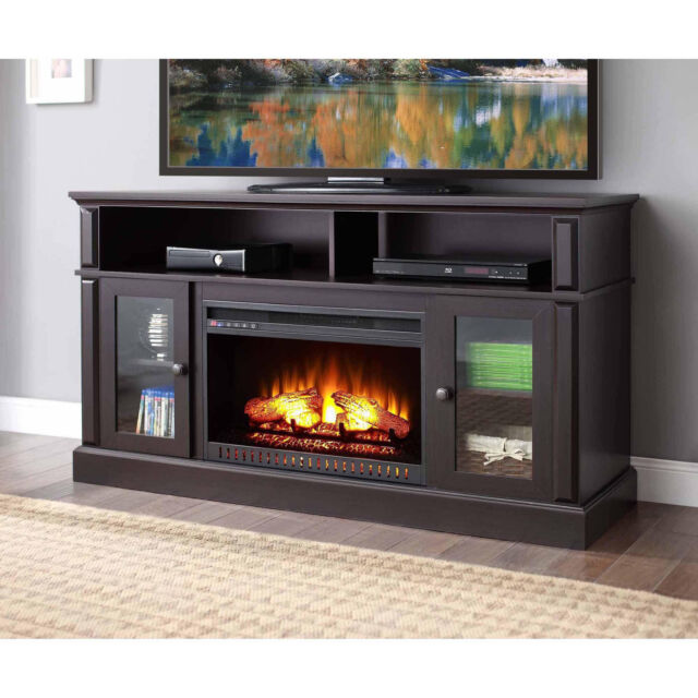 Electric Fireplace TV Stand Media Storage Flame Heater Laminated ...