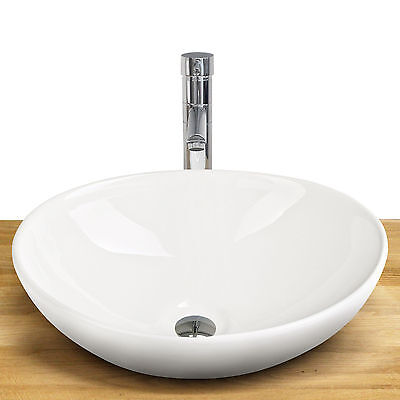 Keramikspülen Keramik Waschtisch Waschbecken Waschplatz Oval 41x33cm Weiß