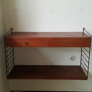 string regal nisse strinning wandregal teak mit schubladen nachttisch sideboard ebay. Black Bedroom Furniture Sets. Home Design Ideas