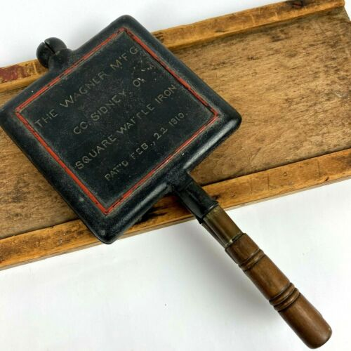 Vintage Wagner Mfg Co Cast Iron Square Waffle Patented Feb 22 1910 Sidney OH