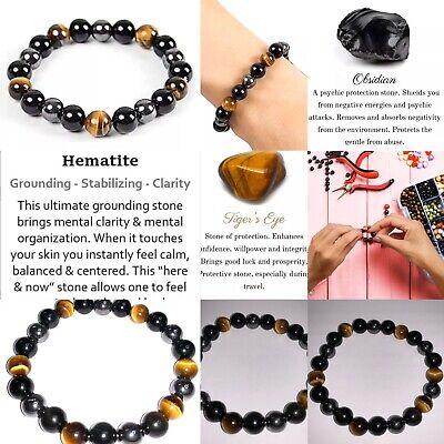 Tiger Eye Triple Protection Hematite and Black Obsidian Bracelet 8mm SIZE 9💨 Sh