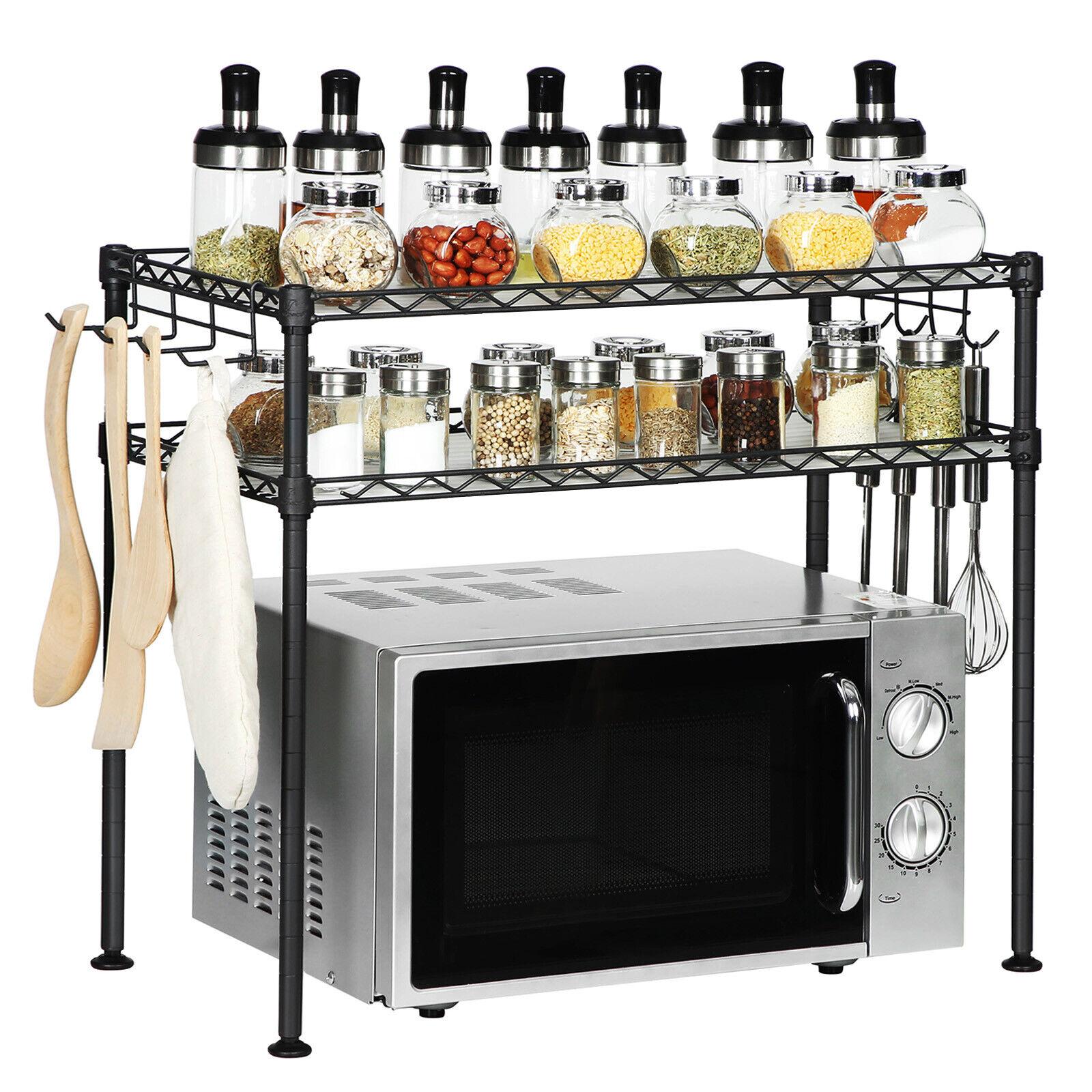 Küchenregal mit 2 Ebenen Mikrowellenregal Standregal Stahl 2 Ablage und 8 Haken