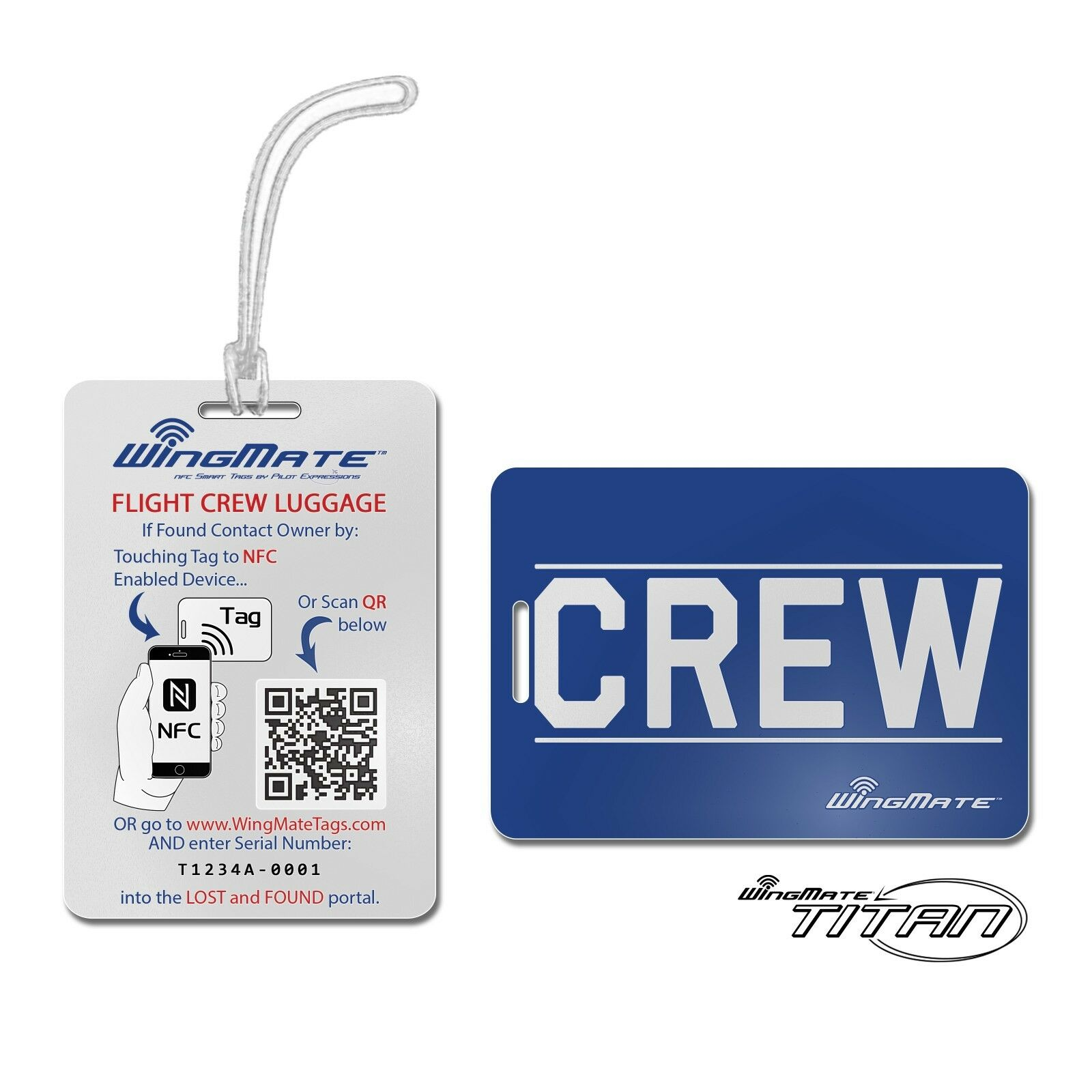 Passive Tracking Smart CREW Luggage Tag by WingMate! Flight