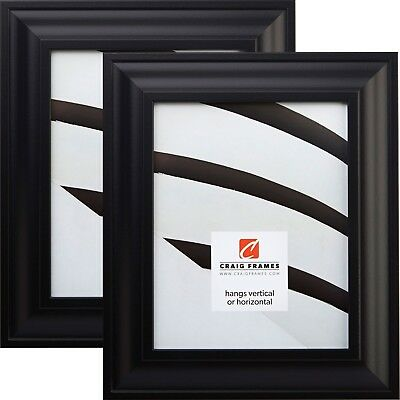 Craig Frames 21834700BK 2-Inch Wide Black Picture Frame, 2-Piece Set 2 Piece Frame Set