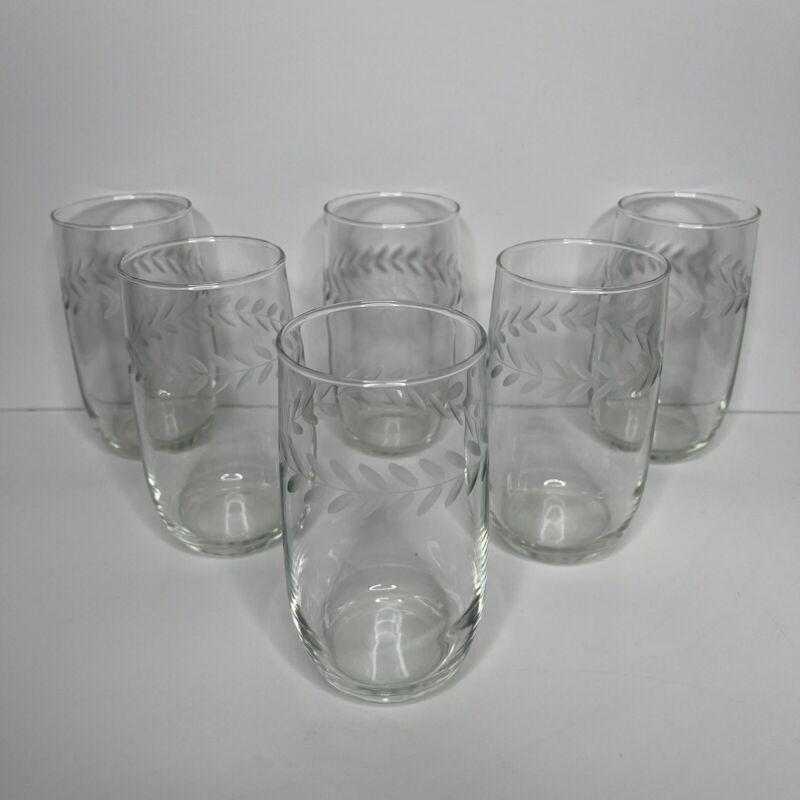 Vintage Anchor Hocking Set of 6 Clear Glass Etched Laurel Leaf Glasses Tumblers