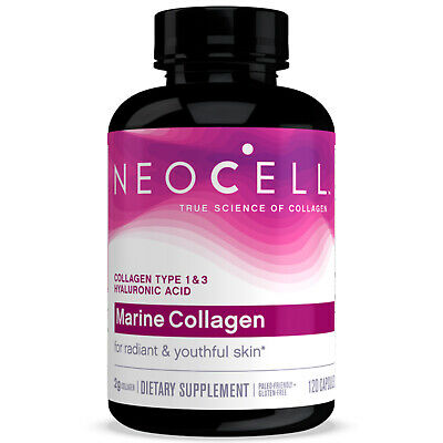 Neocell Marine fish Collagen +Hyaluronic Acid 120Caps Free Shipping Make In USA