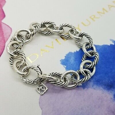 David Yurman Sterling Silver 12'mm Classic Cable Oval Chain Link Bracelet 7 inch Oval Link Cable Chain