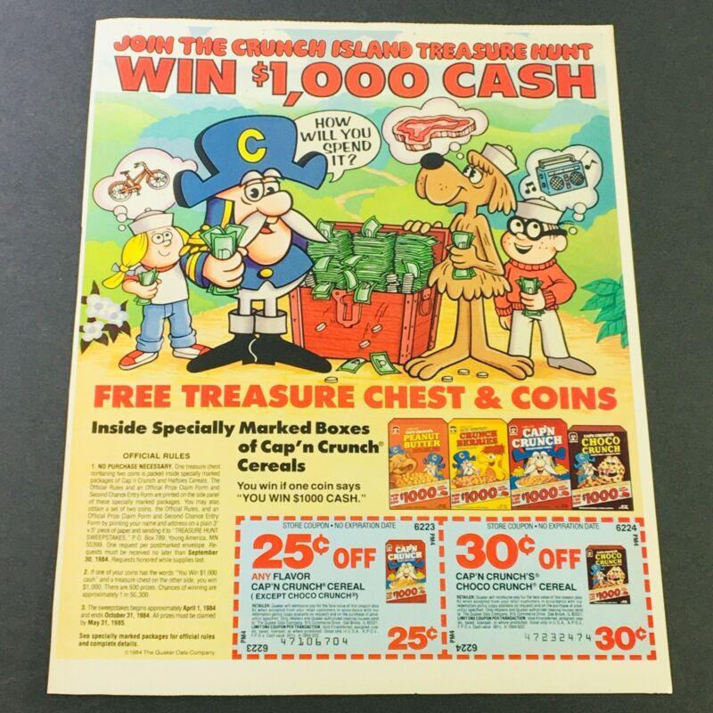 VTG Retro 1984 Quaker Oats The Crunch Island Treasure Hunt Cereals Ad Coupon