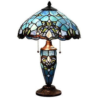 Tiffany Style Downcast Lampshade Victorian Double Lit Stained Glass Desk Lamp Home