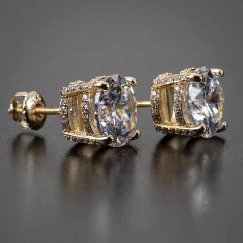 Gold Round Fully Iced Lab Simulated Diamond Mens Womens Stud Screw Back Earrings