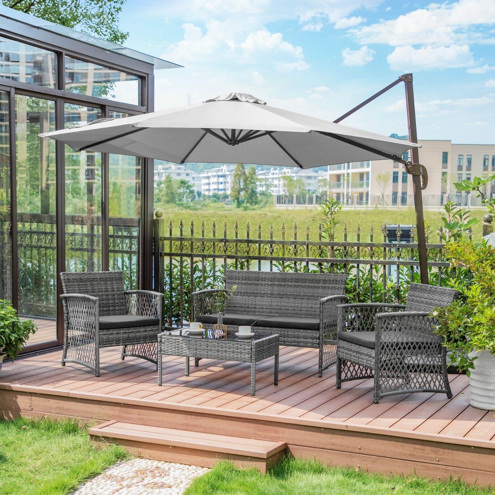 Garden Furniture - 4PC Furniture Patio Outdoor Rattan Wicker Conversation Sofa Table Cushion Garden