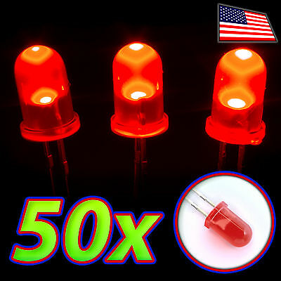 50x Red Leds - 5mm Diffused Lens