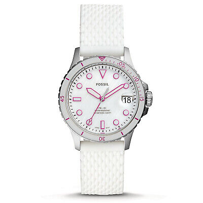 FOSSIL Womens BG-01 Watch, Mother Pearl Dial, White Silicone Rubber Band, Date