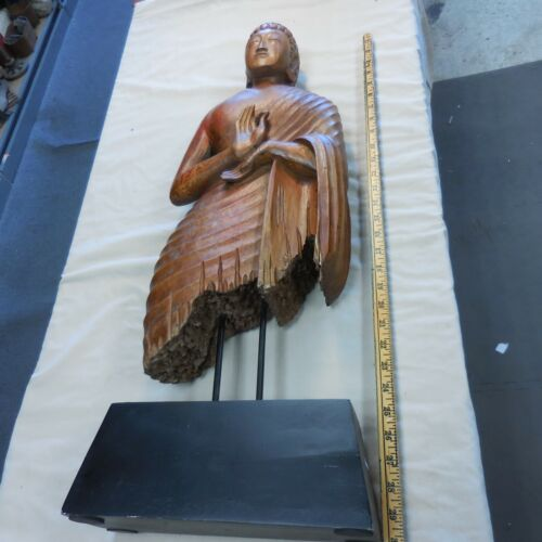 WOODEN 30 INCH BUDDHA STATUE ON STAND