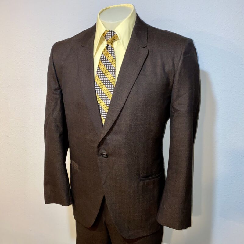 Vtg 50s 60s SOCIETY Two Piece Suit MENS 44 Jacket 35 28 Pants Mid Century BROWN