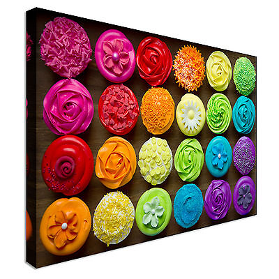 Cheap Cupcakes (Colourful Cupcakes Selection Canvas Art Cheap Wall Print Home)