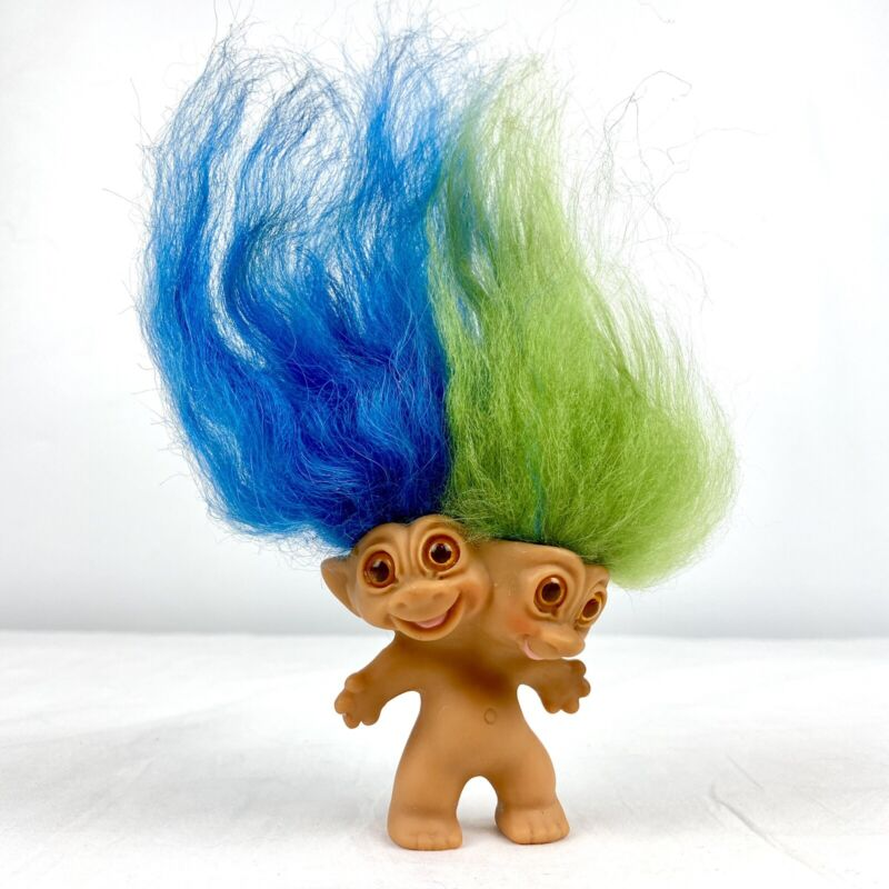 "Vintage 1965 Uneeda Two Headed Troll Golden Brown Eyes Bright Blue/Green Hair 3"""