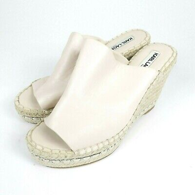 Karl Lagerfeld PINK Leather Espadrille Wedge Sz 6.5 Tan rope -
