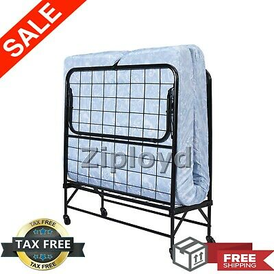 "TWIN FOLDING BED Cot 5"" Foam Mattress Guest Roll Away Camping Portable Sleeper"