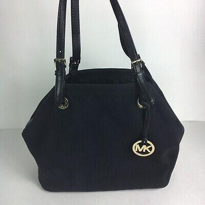 Michael Kors Jet Set Item Grab Bag Canvas Leather Trim Purse Black