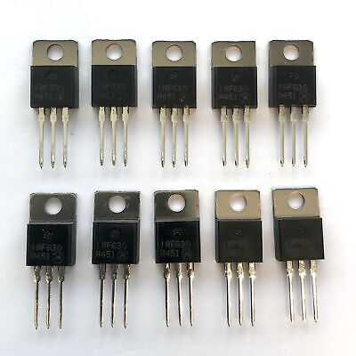Pkg Of 10 Irf630 N-channel Power Mosfet 9a 200v Motorola To-220