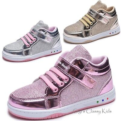 Girls Tennis Shoes High Top Glitter Lights Up LED Sneakers Kids Youth Strap New - High Top Sparkle Sneakers